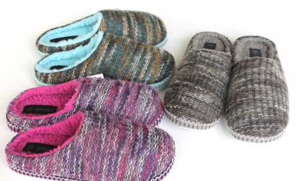 Damen Hausschuhe Pantoffeln Puschen Strick gefüttert Größe 36-41 Neu