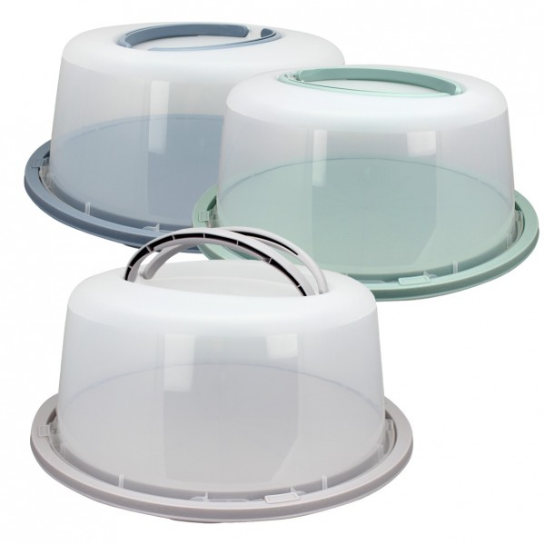Tortenbehälter Kuchenbox Kuchenbehälter mit Griff Platte mit Haube Farbe taupe