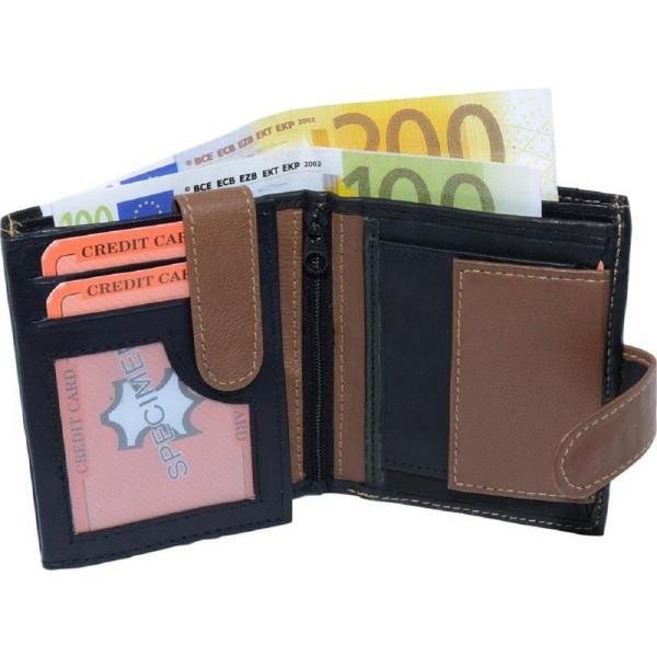 Geldbörse Geldbeutel klein Nappa Leder Kombibörse mit Außenriegel Schwarz Tan Neu