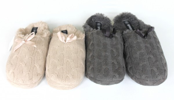 Damen Pantoffeln Hausschuhe Puschen Strick Größe 36-41 Neu