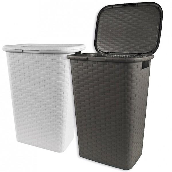 Wäschekorb Wäschebox Wäschesammler stabil Flechtoptik 53 Liter Kunststoff Neu