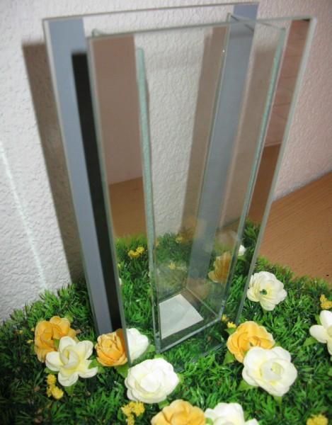 Vase Blumenvase Dekovase Glasvase Glas verspiegelt eckig NEU