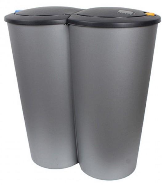 DUO BIN Mülleimer Doppel Abfalleimer Schwingdeckeleimer 50 Liter Neu