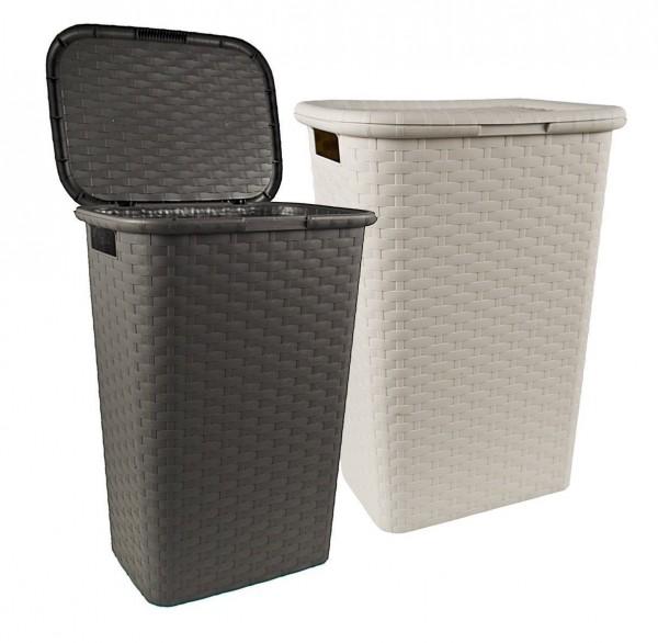 Wäschekorb Wäschesammler Flechtoptik stabil ca. 60 Liter 60x43x33 Kunststoff NEU