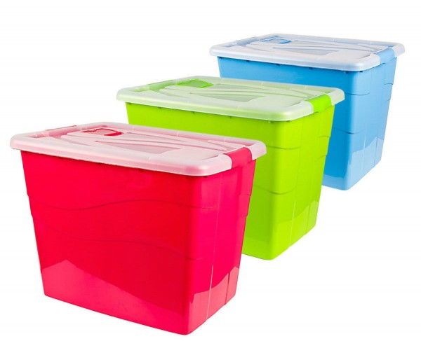 Aufbewahrungsbox Rollenbox Multibox Stapelbox Box mit Deckel XXL 80 Liter NEU