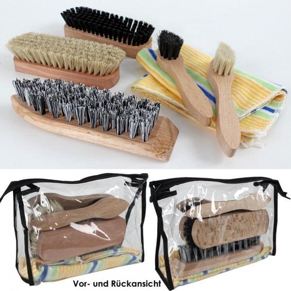 Schuhputz Set 7-teilig Bürsten Poliertuch Schuhpflege Set Centi NEU