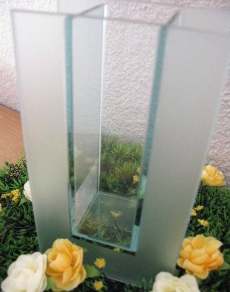 Vase Blumenvase Dekovase Glasvase eckig Dekoration Glas NEU