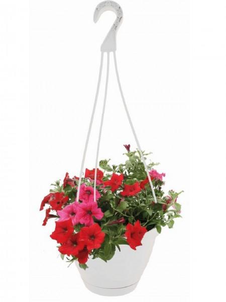 Blumenampel Blumentopf mit Aufhänger Weiß Durchmesser 26 cm
