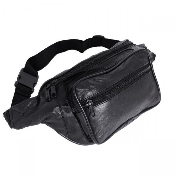 Bauchtasche Tasche mit Fronttasche Reißverschuss Nappa Leder Schwarz Neu
