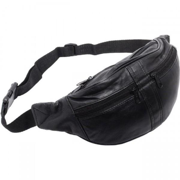 Bauchtasche Tasche Beuteltasche mit 2 Front-Reißverschlüssen Nappa Leder Neu