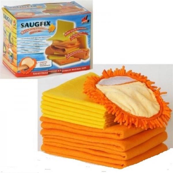 Saugfix Wischtücher Reinigungstücher 11-Teilig mit Mikrofaser Handschuh TOP NEU